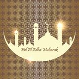 Islamic Festival of Sacrifice, Eid Al Adha Mubarak Greeting Card. Vector background.  Royalty Free Stock Images