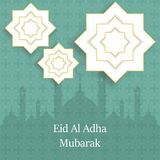 Islamic Festival of Sacrifice, Eid Al Adha Mubarak Greeting Card. Vector background.  Royalty Free Stock Photos