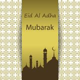 Islamic Festival of Sacrifice, Eid Al Adha Mubarak Greeting Card. Vector background.  Royalty Free Stock Photography