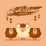 Islamic festival of sacrifice, Eid-Al-Adha vintage paper style c. Oncept with illustration of sheep, hanging lanterns on brown background Royalty Free Stock Photography