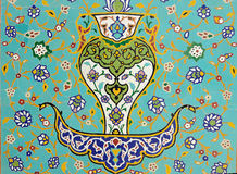 Islamic Floral Motif Pattern on Mosaic Royalty Free Stock Photos