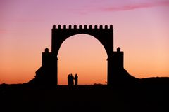 Islamic gate in the southern morocco. Traditional gate in the Anti-Atlas, Morocco Stock Photos