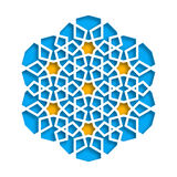 Islamic geometric pattern. Vector 3D muslim mosaic, persian motif. Elegant oriental ornament, traditional arabic art. Mosque decoration element. Blue mandala royalty free illustration