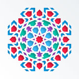 Islamic geometric pattern. Vector 3D muslim mosaic, persian motif. Mosque decoration element. Colorful mandala Royalty Free Stock Photography