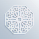 Islamic geometric pattern. Vector muslim mosaic, persian motif. Elegant white oriental ornament, traditional arabic art. Royalty Free Stock Photo