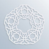 Islamic geometric pattern. Vector muslim mosaic, persian motif. Elegant white oriental ornament, traditional arabic art. Mosque decoration element. 3D Royalty Free Stock Image