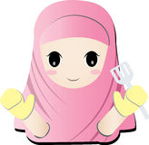 Islamic girl cooker. The little isalam girl cook in pink dress vector illustration
