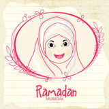Islamic girl for holy month Ramadan Kareem celebration. Stock Photos