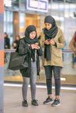 Islamic girls with a headscarf, Utrecht, Netherlands. UTRECHT-MARCH 2, 2017. Islamic girls with a headscarf. Head coverings are common in Islamic countries stock photo