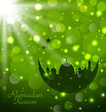 Islamic glow card for Ramadan Kareem Royalty Free Stock Photo