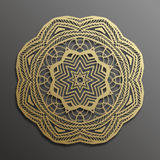 Islamic gold on dark background.Mandala round ornament. Muslim texture design. Vector illustration for brochures invitations Stock Photo