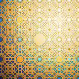 Islamic gold pattern with overlapping geometric square shapes forming abstract ornament.  Royalty Free Stock Photo