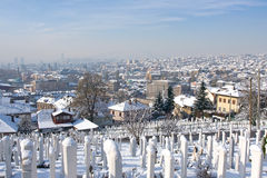 Islamic graveyard in Sarajevo Royalty Free Stock Photo