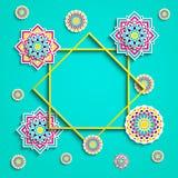 Islamic greeting card. Arabic holidays design. Vector illustration. Round decorative elements, flowers, floral elements royalty free illustration