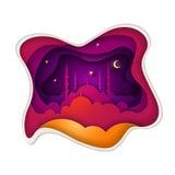 Islamic greeting card design for Ramadan. Stock Photography