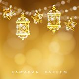 Islamic greeting card. Garlands with oriental arabic lanterns, stars and lights. Golden vector illustration background. Invitation for muslim holy month Stock Photography