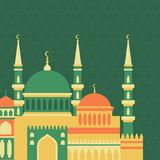 Islamic greeting card with mosque in flat design Stock Image