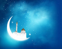 Islamic greeting  Eid Mubarak cards for Muslim Holidays. Eid-Ul-Adha festival celebration . Ramadan Kareem background with crescent moon and shiny Mosque in the Stock Images
