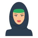 Islamic happy woman with headgear, hijab. Flat color vector Stock Image