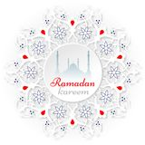 Ramadan. Islamic holy holiday Ramadan. White, red Ramadan Kareem royalty free illustration