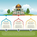 Islamic Infographic with mosque building Stock Photo