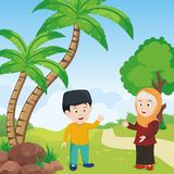 Islamic kid with Nature landscape background Royalty Free Stock Image