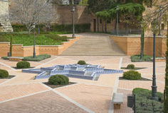 Islamic landscape design. View of the newly designed and restored Parque del Emir Mohamed I, situated close to the old city wall, or muralla, of Madrid, showing Stock Images