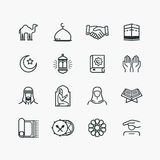 Islamic Line Art Icons Set Stock Photos