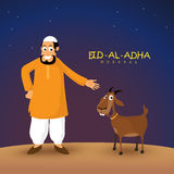 Islamic Man with Goat for Eid-Al-Adha Mubarak. Illustration of a Islamic Man with Goat on glossy night background for Muslim Community, Festival of Sacrifice Stock Photo