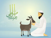 Islamic Man with Goat for Eid-Al-Adha Mubarak. Royalty Free Stock Images