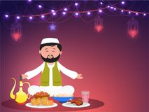 Islamic man offering food on occasion of Iftar, holy month of Ra. Madan Kareem festival concept Stock Photo