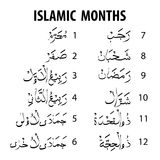 Islamic months  on white background Royalty Free Stock Image
