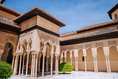 Islamic Moorish architecture and design in the Court of the Lions, Alhambra palace. Granada, Andalusia, Spain. stock photo