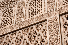 Islamic (Moorish) Art carved. On a wall of a palace in Granada (Carmen de los Martires) in Spain Stock Photo