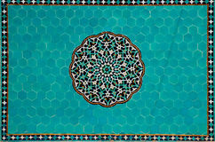 Islamic mosaic with blue tiles. Blue floral mosaic inside an old mosque in Yazd, Iran Royalty Free Stock Photos