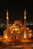 Islamic Mosque. Night view of Islamic mosque in Sharjah Stock Image