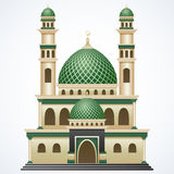 Islamic mosque building with green dome and two tower isolated on white background Royalty Free Stock Image