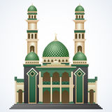 Islamic mosque building with green dome and two tower isolated on white background Stock Photography