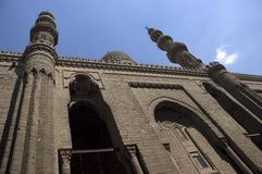Islamic Mosque and Minarets, Travel to Cairo Egypt. Exterior scene of a mosque in Cairo, Egypt looking up at the minarets. Egypt is a popular travel destination Stock Images