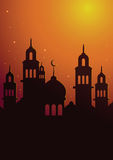 Islamic Mosque Silhouette With Sunset Sky Poster Background Royalty Free Stock Photo
