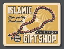 Islamic Muslim religious store vector retro poster. Islamic gift shop advertisement retro poster of Muslim mullah priest beads. Vector vintage design of crescent vector illustration