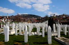 Islamic Muslim Tombstones of Bosnian soldiers at Martyrs Memorial Cemetery Sarajevo Bosnia Stock Photography