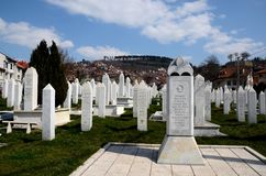 Islamic Muslim Tombstones of Bosnian soldiers at Martyrs Memorial Cemetery Sarajevo Bosnia Stock Photos