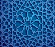 Islamic ornament vector , persian motiff . 3d ramadan islamic round pattern elements . Geometric circular ornamental. Blue background . Islamic ornament vector Royalty Free Stock Photography