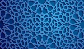 Islamic ornament vector , persian motiff . 3d ramadan islamic round pattern elements . Geometric circular ornamental. Blue background . Islamic ornament vector Stock Photography