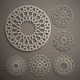 Islamic ornament vector , persian motiff . 3d ramadan islamic round pattern elements . Geometric logo template set. Circular ornamental arabic symbols Stock Photography