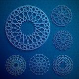 Islamic ornament vector , persian motiff . 3d ramadan islamic round pattern elements . Geometric logo template set. Circular ornamental arabic symbols Stock Photo