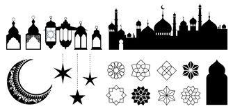 Islamic ornaments, symbols and icons. Vector illustration with moon, lanterns, patterns and city silhouette. Islamic ornaments, symbols and icons collection vector illustration