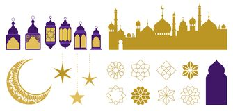 Islamic ornaments, symbols and icons. Vector illustration with moon, lanterns, patterns and city silhouette. Islamic ornaments, symbols and icons collection stock illustration