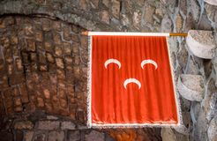 Islamic Ottoman Empire Flag hanging in Bodrum Castle royalty free stock photo